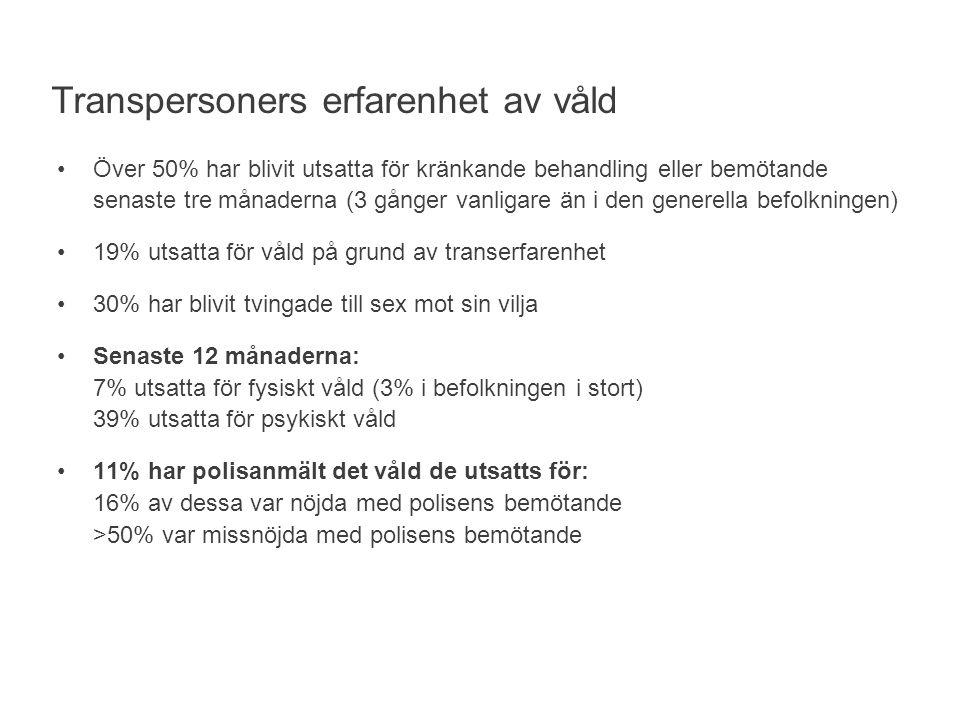 Över 50% har blivit utsatta för kränkande behandling eller bemötande senaste tre månaderna (3 gånger vanligare än i den generella befolkningen) 19% utsatta för våld på grund av transerfarenhet 30% har blivit tvingade till sex mot sin vilja Senaste 12 månaderna: 7% utsatta för fysiskt våld (3% i befolkningen i stort) 39% utsatta för psykiskt våld 11% har polisanmält det våld de utsatts för: 16% av dessa var nöjda med polisens bemötande >50% var missnöjda med polisens bemötande Transpersoners erfarenhet av våld