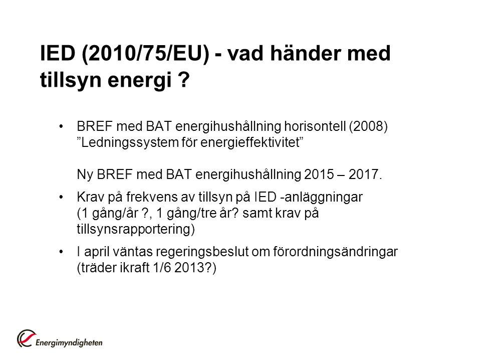 """IED (2010/75/EU) - vad händer med tillsyn energi ? BREF med BAT energihushållning horisontell (2008) """"Ledningssystem för energieffektivitet"""" Ny BREF m"""