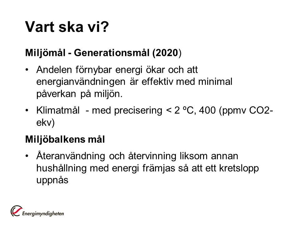 Vart ska vi? Miljömål - Generationsmål (2020) Andelen förnybar energi ökar och att energianvändningen är effektiv med minimal påverkan på miljön. Klim