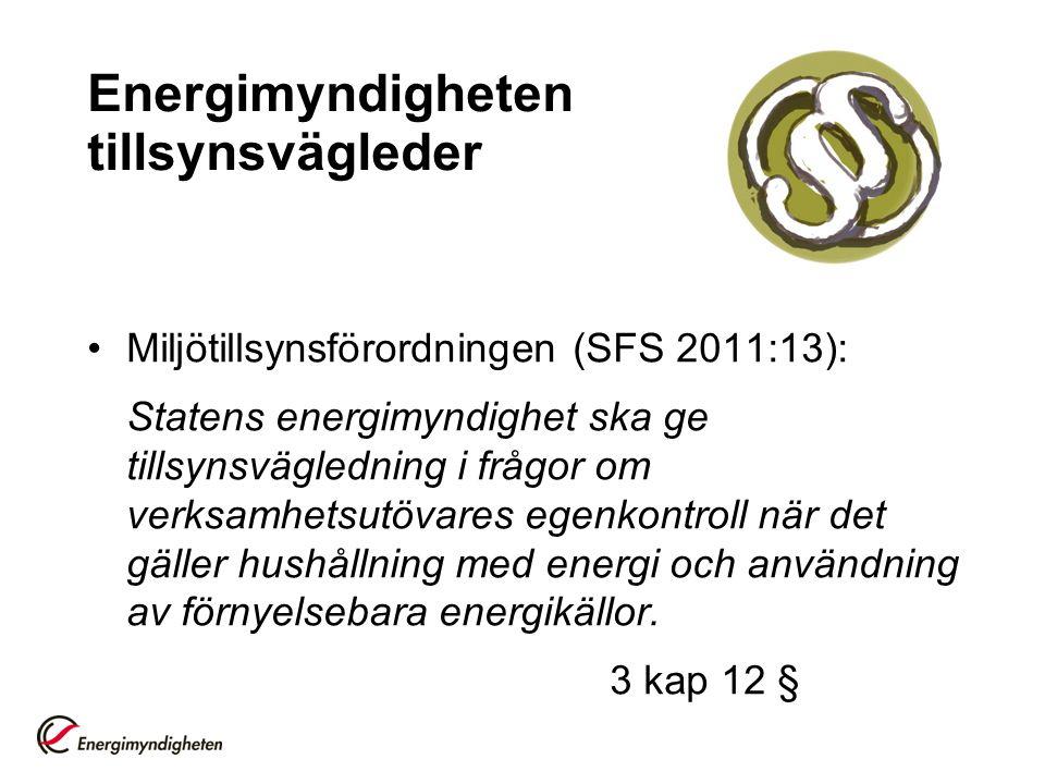 Energimyndigheten tillsynsvägleder Miljötillsynsförordningen (SFS 2011:13): Statens energimyndighet ska ge tillsynsvägledning i frågor om verksamhetsutövares egenkontroll när det gäller hushållning med energi och användning av förnyelsebara energikällor.