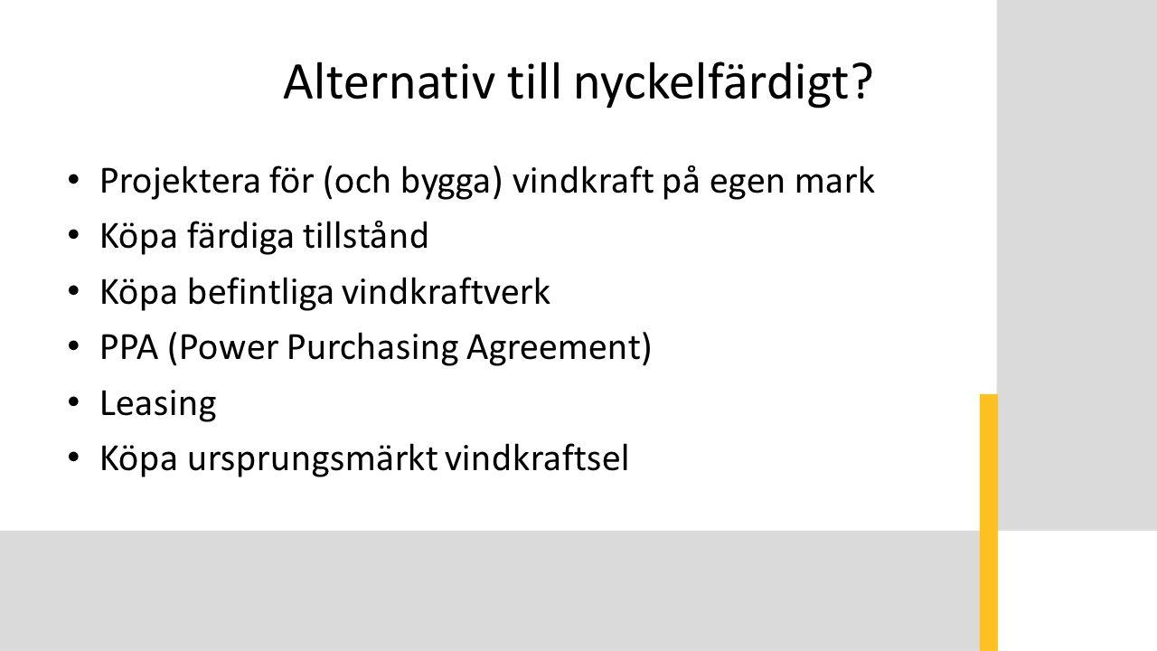 Alternativ till nyckelfärdigt? Projektera för (och bygga) vindkraft på egen mark Köpa färdiga tillstånd Köpa befintliga vindkraftverk PPA (Power Purch