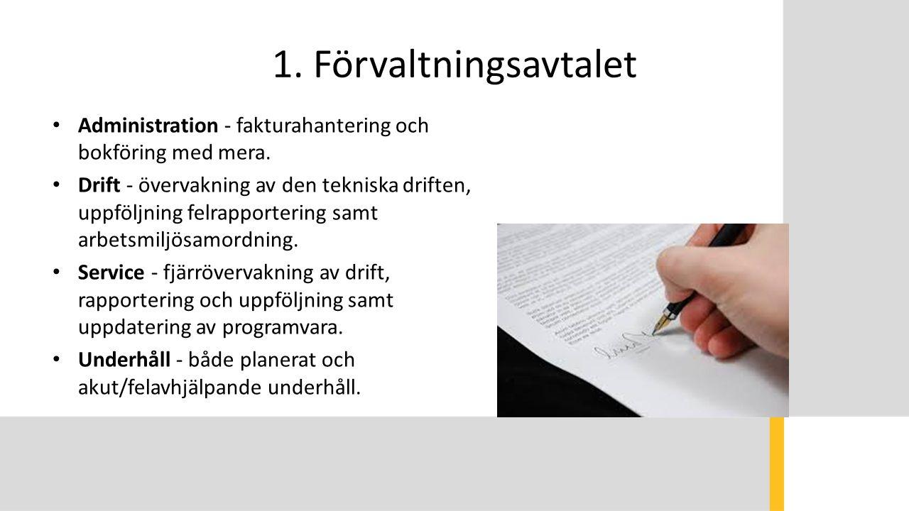 1. Förvaltningsavtalet Administration - fakturahantering och bokföring med mera. Drift - övervakning av den tekniska driften, uppföljning felrapporter