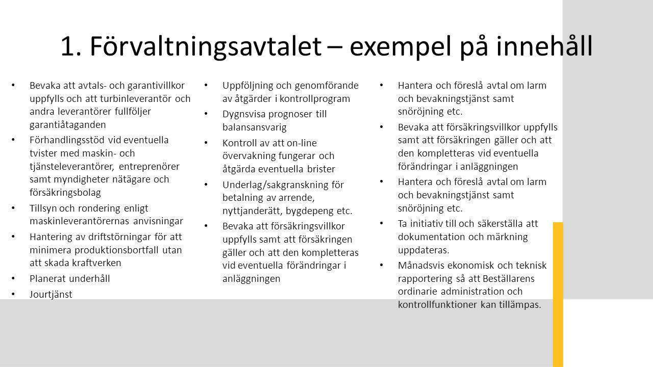 1. Förvaltningsavtalet – exempel på innehåll Bevaka att avtals- och garantivillkor uppfylls och att turbinleverantör och andra leverantörer fullföljer