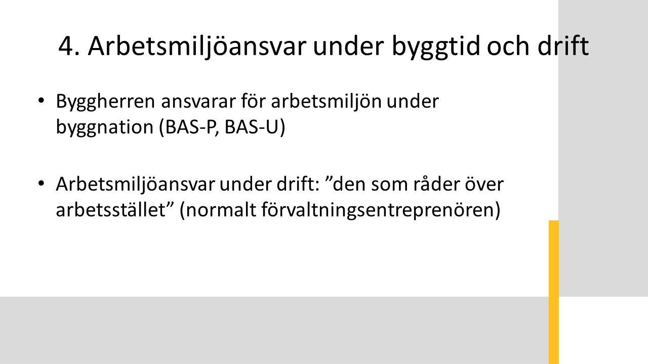 """4. Arbetsmiljöansvar under byggtid och drift Byggherren ansvarar för arbetsmiljön under byggnation (BAS-P, BAS-U) Arbetsmiljöansvar under drift: """"den"""
