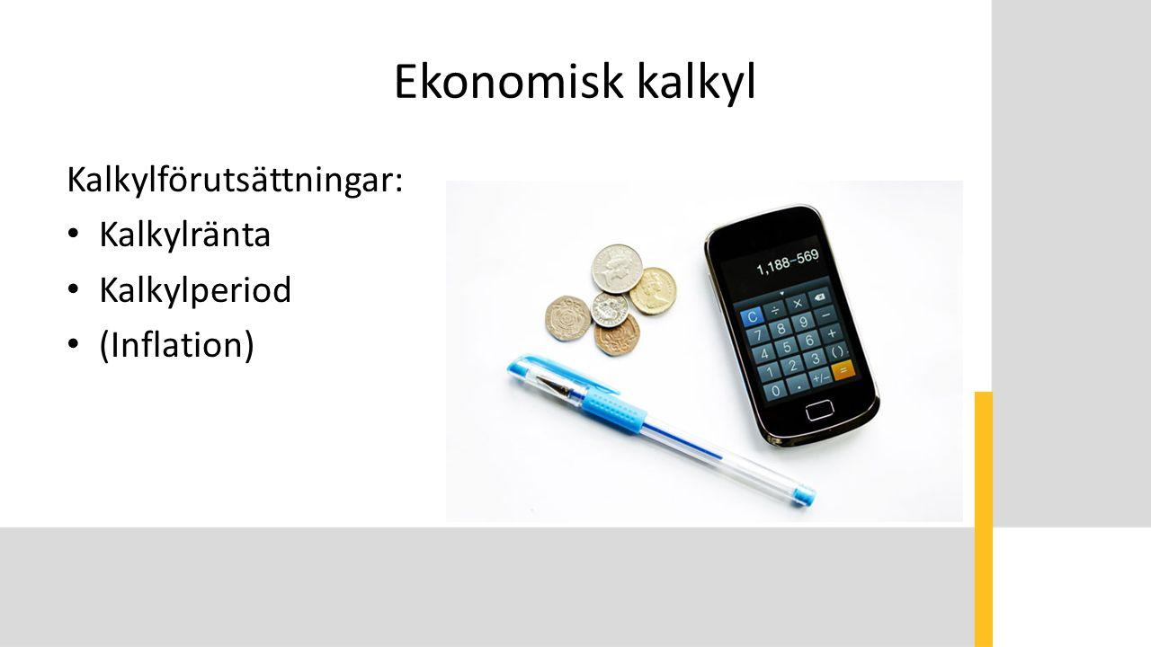 Ekonomisk kalkyl Kalkylförutsättningar: Kalkylränta Kalkylperiod (Inflation)