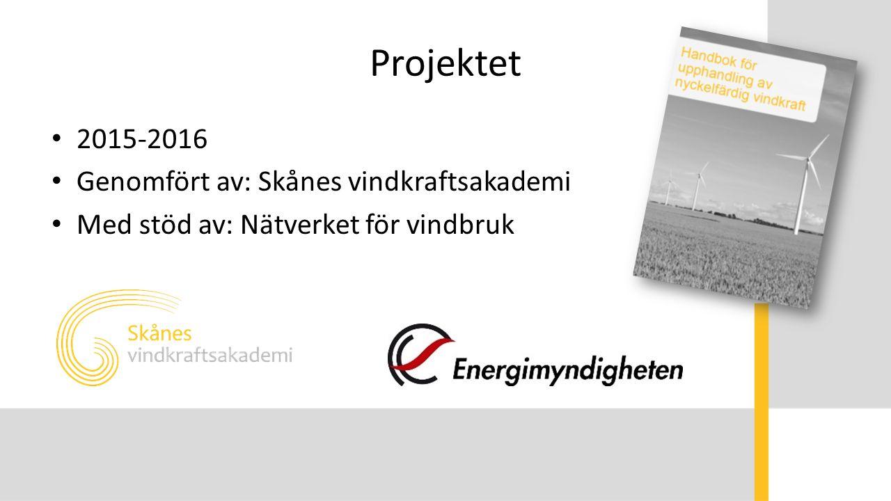 Projektet 2015-2016 Genomfört av: Skånes vindkraftsakademi Med stöd av: Nätverket för vindbruk