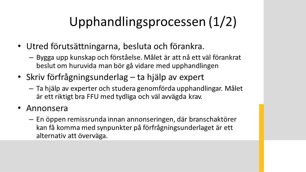 Upphandlingsprocessen (1/2) Utred förutsättningarna, besluta och förankra.