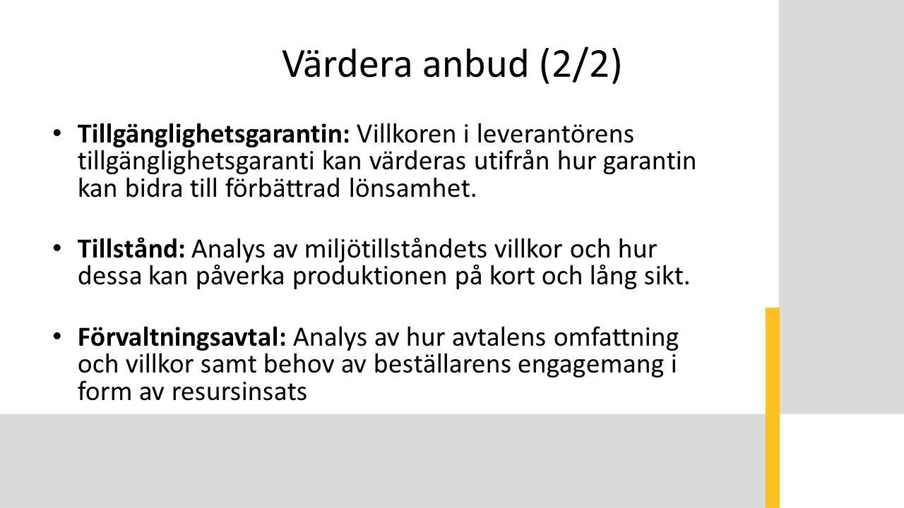 Värdera anbud (2/2) Tillgänglighetsgarantin: Villkoren i leverantörens tillgänglighetsgaranti kan värderas utifrån hur garantin kan bidra till förbättrad lönsamhet.