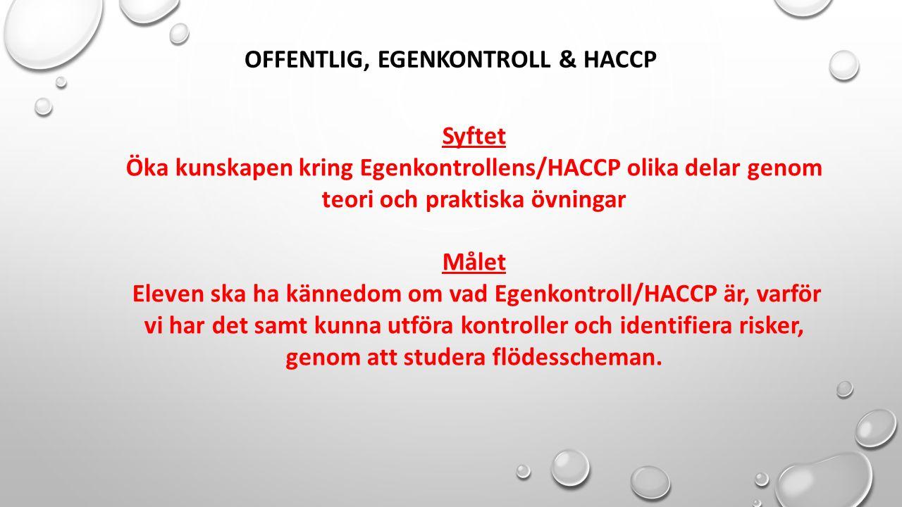 OFFENTLIG, EGENKONTROLL & HACCP Syftet Öka kunskapen kring Egenkontrollens/HACCP olika delar genom teori och praktiska övningar Målet Eleven ska ha kä