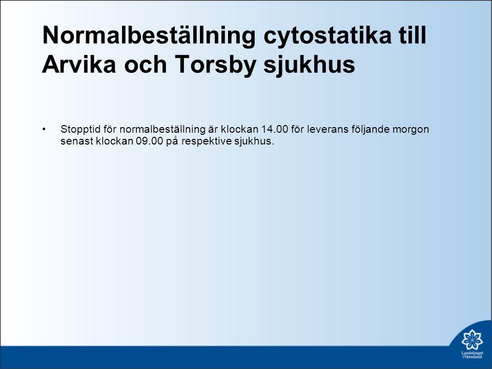 Normalbeställning cytostatika till Arvika och Torsby sjukhus Stopptid för normalbeställning är klockan 14.00 för leverans följande morgon senast klockan 09.00 på respektive sjukhus.