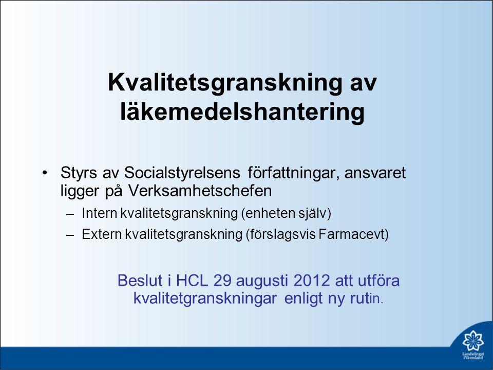 Kvalitetsgranskning av läkemedelshantering Styrs av Socialstyrelsens författningar, ansvaret ligger på Verksamhetschefen –Intern kvalitetsgranskning (enheten själv) –Extern kvalitetsgranskning (förslagsvis Farmacevt) Beslut i HCL 29 augusti 2012 att utföra kvalitetgranskningar enligt ny rut in.