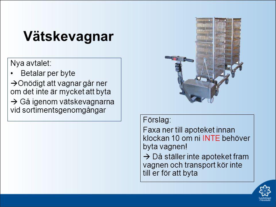 Vätskevagnar Nya avtalet: Betalar per byte  Onödigt att vagnar går ner om det inte är mycket att byta  Gå igenom vätskevagnarna vid sortimentsgenomgångar Förslag: Faxa ner till apoteket innan klockan 10 om ni INTE behöver byta vagnen.