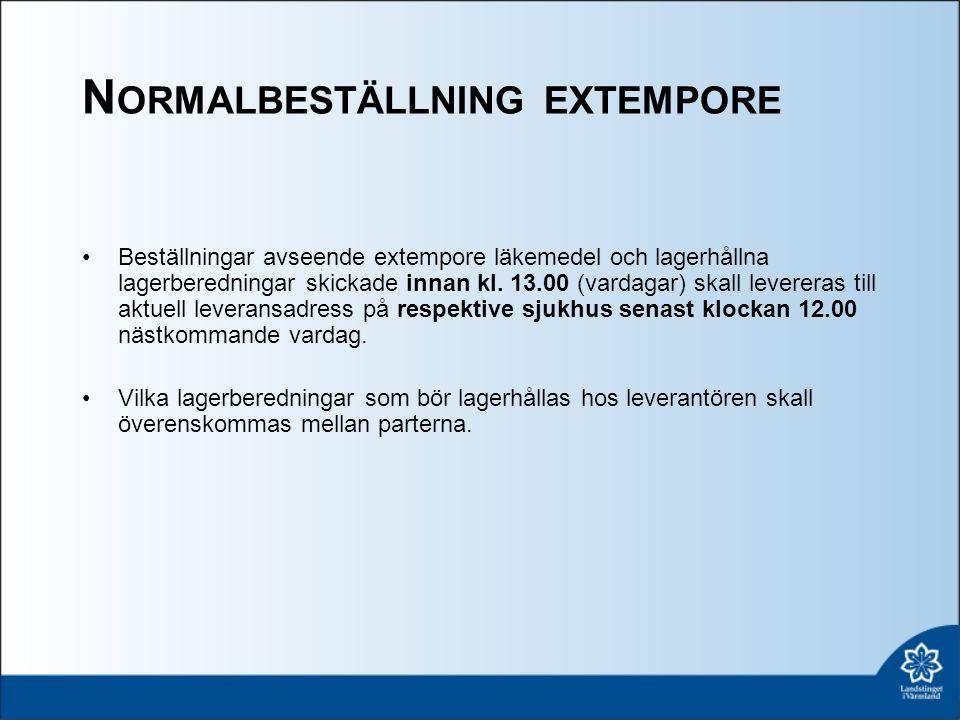 N ORMALBESTÄLLNING EXTEMPORE Beställningar avseende extempore läkemedel och lagerhållna lagerberedningar skickade innan kl.