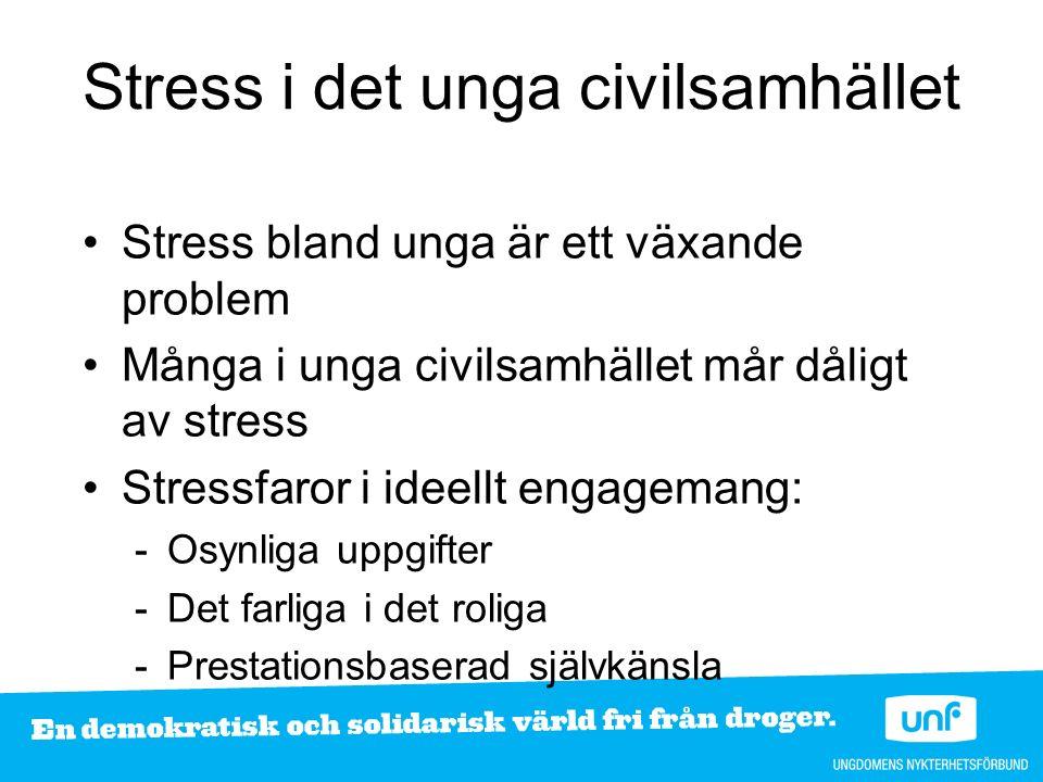 Stress i det unga civilsamhället Stress bland unga är ett växande problem Många i unga civilsamhället mår dåligt av stress Stressfaror i ideellt engagemang: -Osynliga uppgifter -Det farliga i det roliga -Prestationsbaserad självkänsla