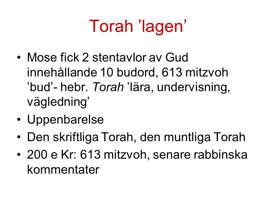 Torah 'lagen' Mose fick 2 stentavlor av Gud innehållande 10 budord, 613 mitzvoh 'bud'- hebr.