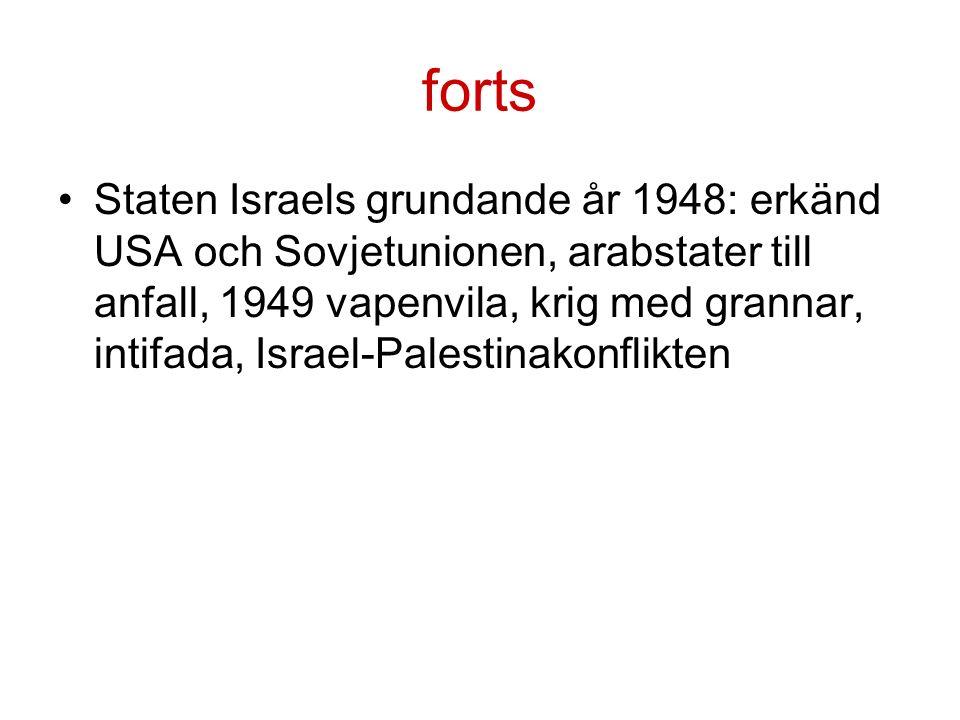 forts Staten Israels grundande år 1948: erkänd USA och Sovjetunionen, arabstater till anfall, 1949 vapenvila, krig med grannar, intifada, Israel-Palestinakonflikten