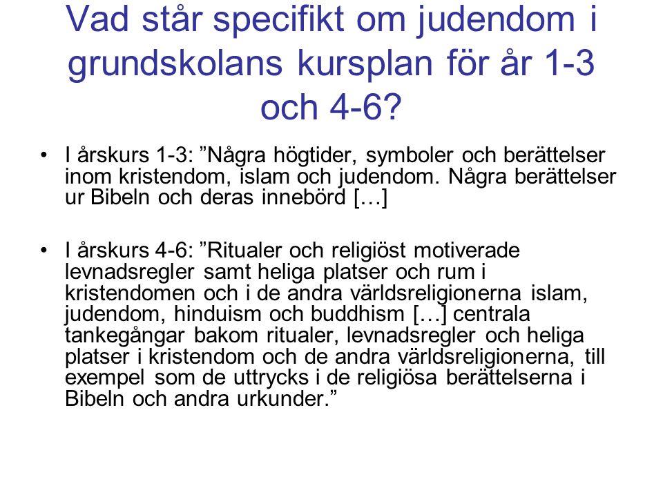 Vad står specifikt om judendom i grundskolans kursplan för år 1-3 och 4-6.