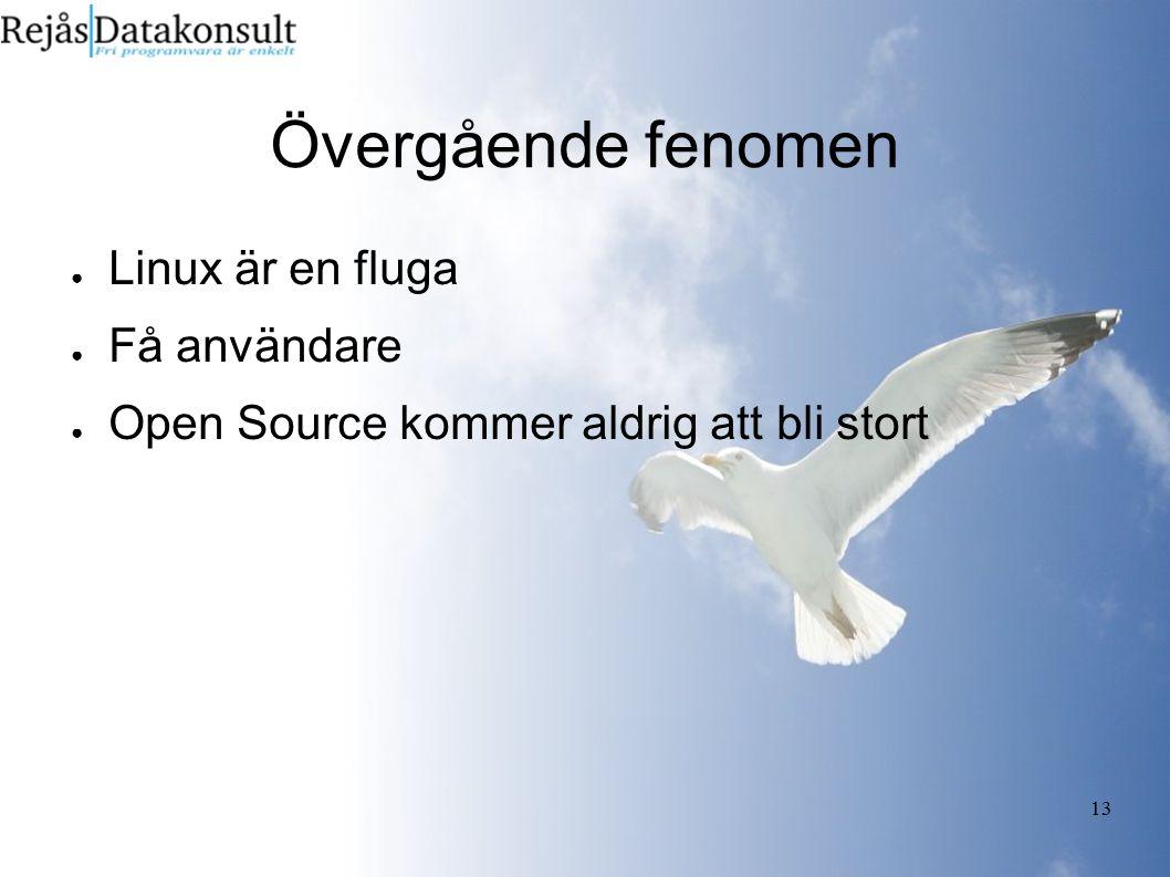 13 Övergående fenomen ● Linux är en fluga ● Få användare ● Open Source kommer aldrig att bli stort