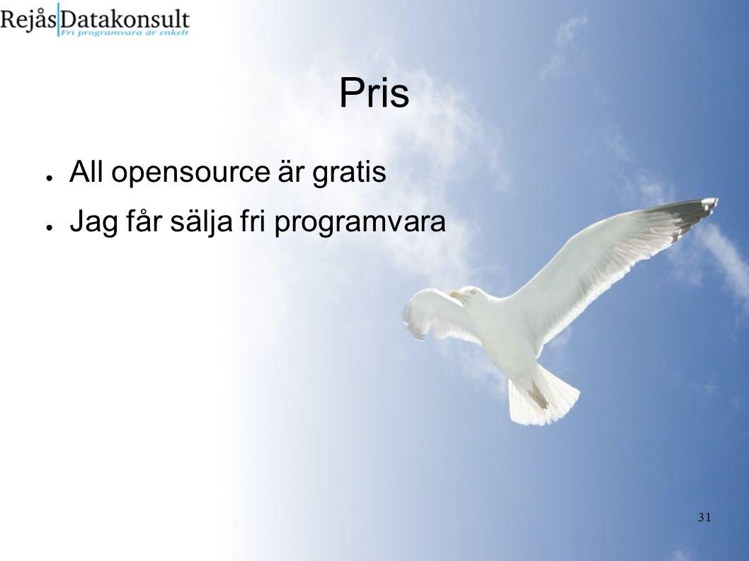 31 Pris ● All opensource är gratis ● Jag får sälja fri programvara