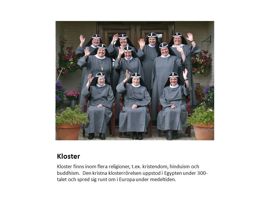 Kloster Kloster finns inom flera religioner, t.ex.