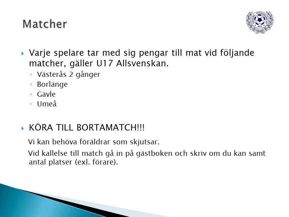  Varje spelare tar med sig pengar till mat vid följande matcher, gäller U17 Allsvenskan.