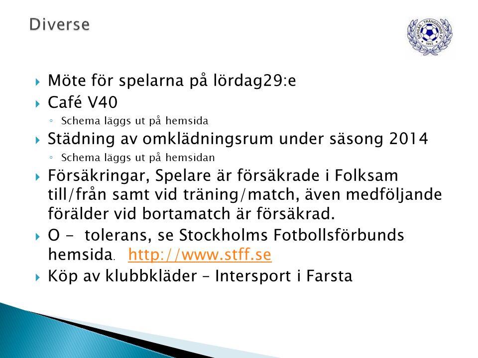  Möte för spelarna på lördag29:e  Café V40 ◦ Schema läggs ut på hemsida  Städning av omklädningsrum under säsong 2014 ◦ Schema läggs ut på hemsidan