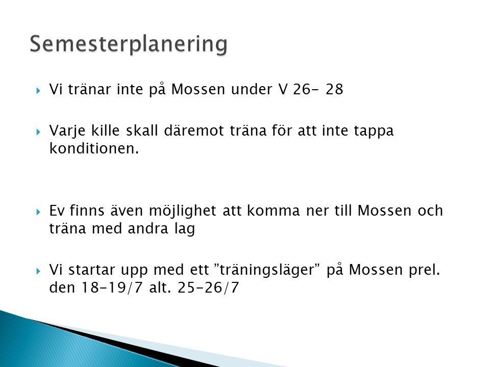  Vi tränar inte på Mossen under V 26- 28  Varje kille skall däremot träna för att inte tappa konditionen.  Ev finns även möjlighet att komma ner ti