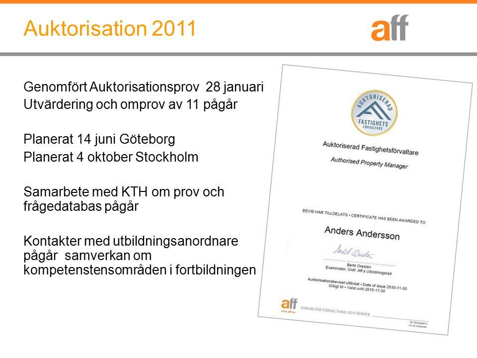 Auktorisation 2011 Genomfört Auktorisationsprov 28 januari Utvärdering och omprov av 11 pågår Planerat 14 juni Göteborg Planerat 4 oktober Stockholm S