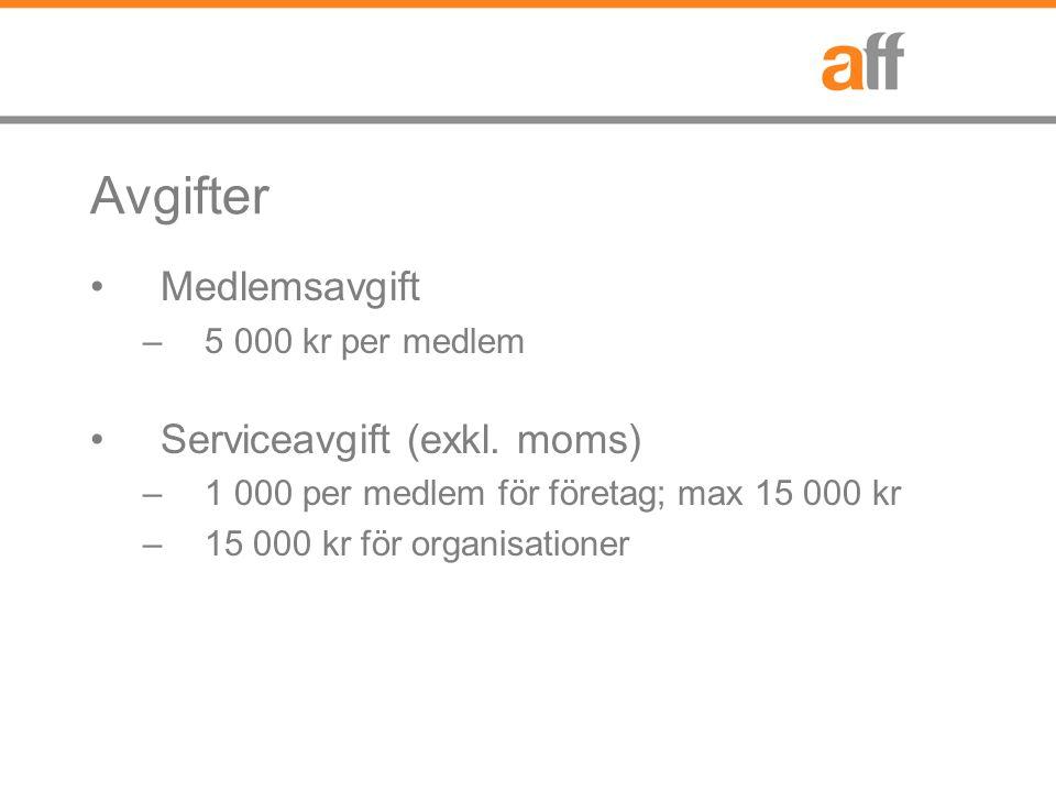 Avgifter Medlemsavgift –5 000 kr per medlem Serviceavgift (exkl. moms) –1 000 per medlem för företag; max 15 000 kr –15 000 kr för organisationer