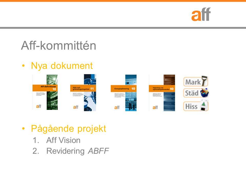 Aff-kommittén Nya dokument Pågående projekt 1.Aff Vision 2.Revidering ABFF