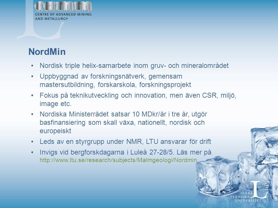 NordMin Nordisk triple helix-samarbete inom gruv- och mineralområdet Uppbyggnad av forskningsnätverk, gemensam mastersutbildning, forskarskola, forskningsprojekt Fokus på teknikutveckling och innovation, men även CSR, miljö, image etc.