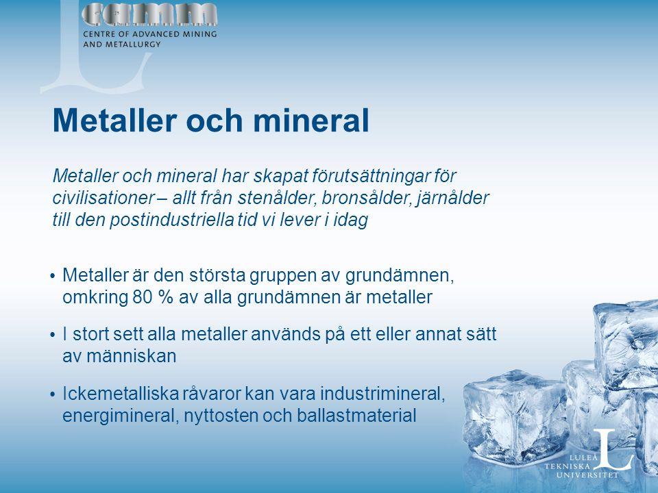Metaller och mineral Metaller och mineral har skapat förutsättningar för civilisationer – allt från stenålder, bronsålder, järnålder till den postindustriella tid vi lever i idag Metaller är den största gruppen av grundämnen, omkring 80 % av alla grundämnen är metaller I stort sett alla metaller används på ett eller annat sätt av människan Ickemetalliska råvaror kan vara industrimineral, energimineral, nyttosten och ballastmaterial