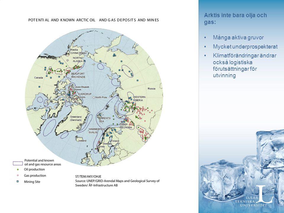 Arktis inte bara olja och gas: Många aktiva gruvor Mycket underprospekterat Klimatförändringar ändrar också logistiska förutsättningar för utvinning