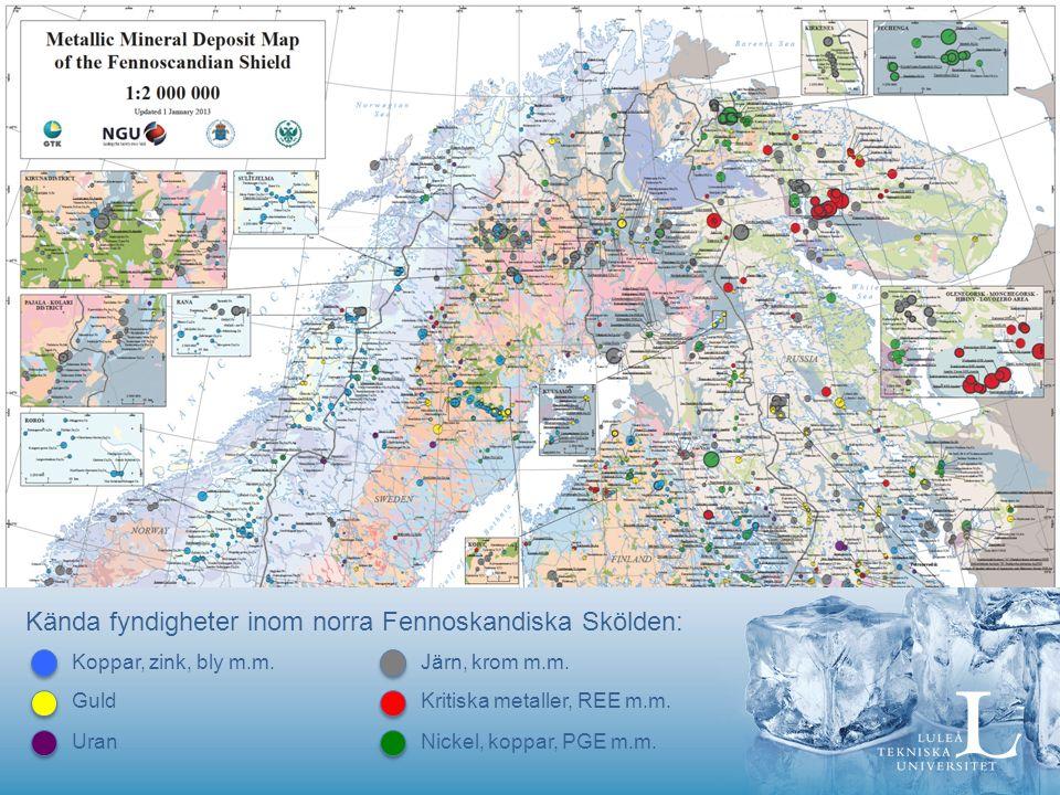 Kända fyndigheter inom norra Fennoskandiska Skölden: Kritiska metaller, REE m.m.