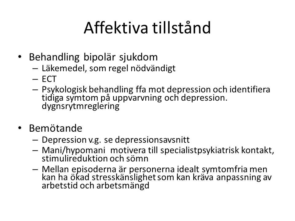 Affektiva tillstånd Behandling bipolär sjukdom – Läkemedel, som regel nödvändigt – ECT – Psykologisk behandling ffa mot depression och identifiera tid