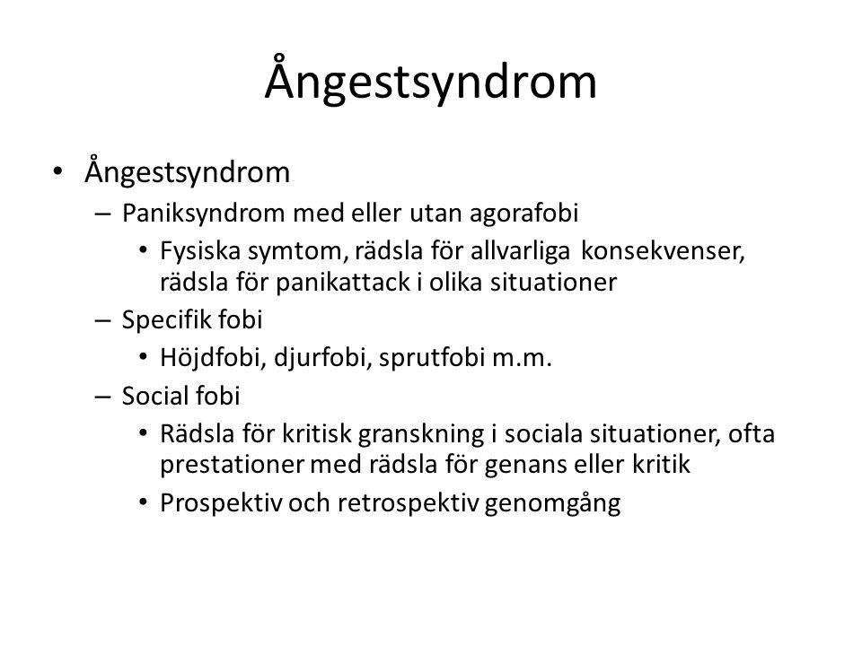 Ångestsyndrom – Paniksyndrom med eller utan agorafobi Fysiska symtom, rädsla för allvarliga konsekvenser, rädsla för panikattack i olika situationer –