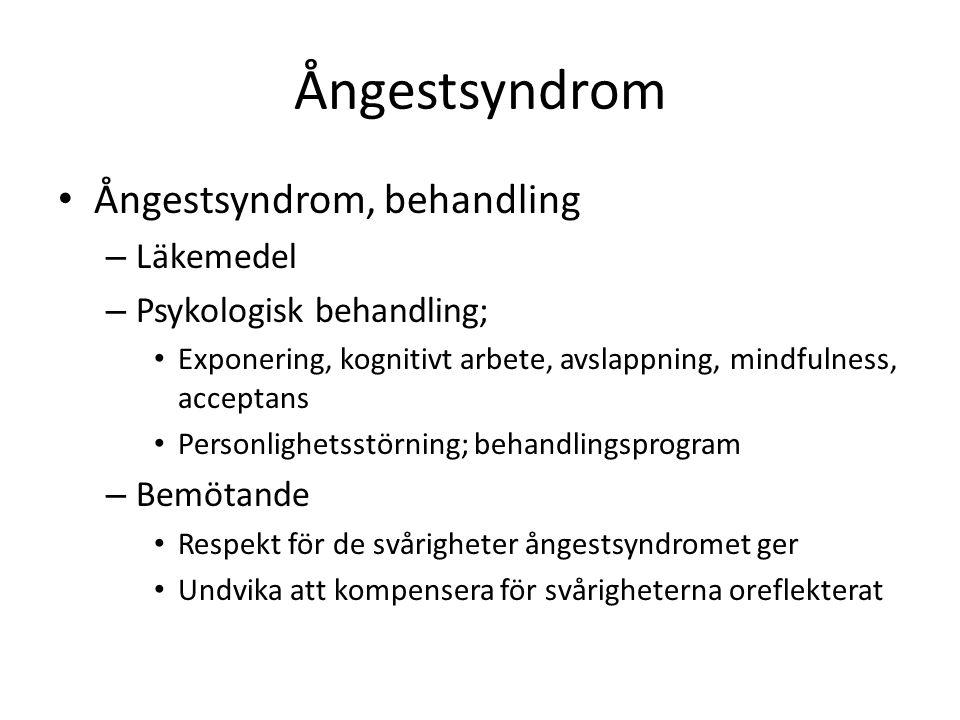 Ångestsyndrom Ångestsyndrom, behandling – Läkemedel – Psykologisk behandling; Exponering, kognitivt arbete, avslappning, mindfulness, acceptans Person