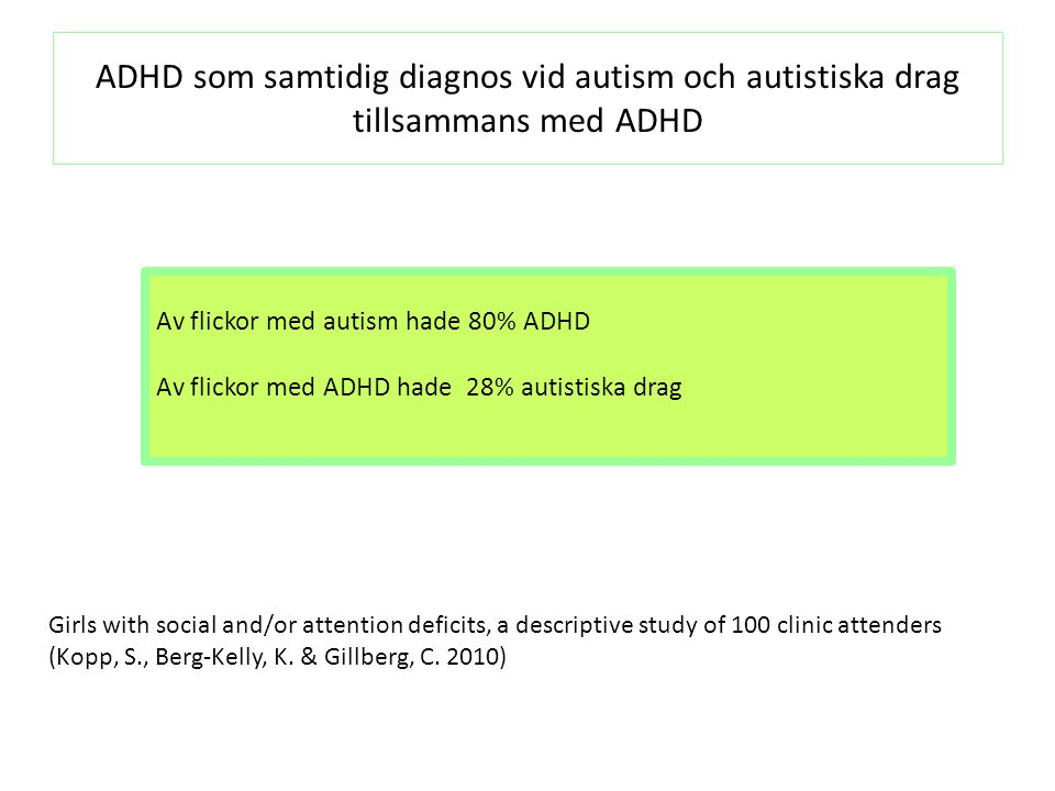 Tal-och språkproblem bland 100 klinikflickor 100 klinikflickor Autism N=46 ADHD N=46 Kontroll flickor N=60 Inget språk2 (2%)2 (4%)00 Få eller mkt få ord7 (7%)7(15%)00 Expressivt språk ej normalt 29 (29%) 16 (35%)7 (15%)4 (7%) Normalt språk62 (62%)21 (46%)39 (85%)56 (93%) Girls with social and/or attention deficits, a descriptive study of 100 clinic attenders, Kopp, S., Berg-Kelly, K., & Gillberg, C.