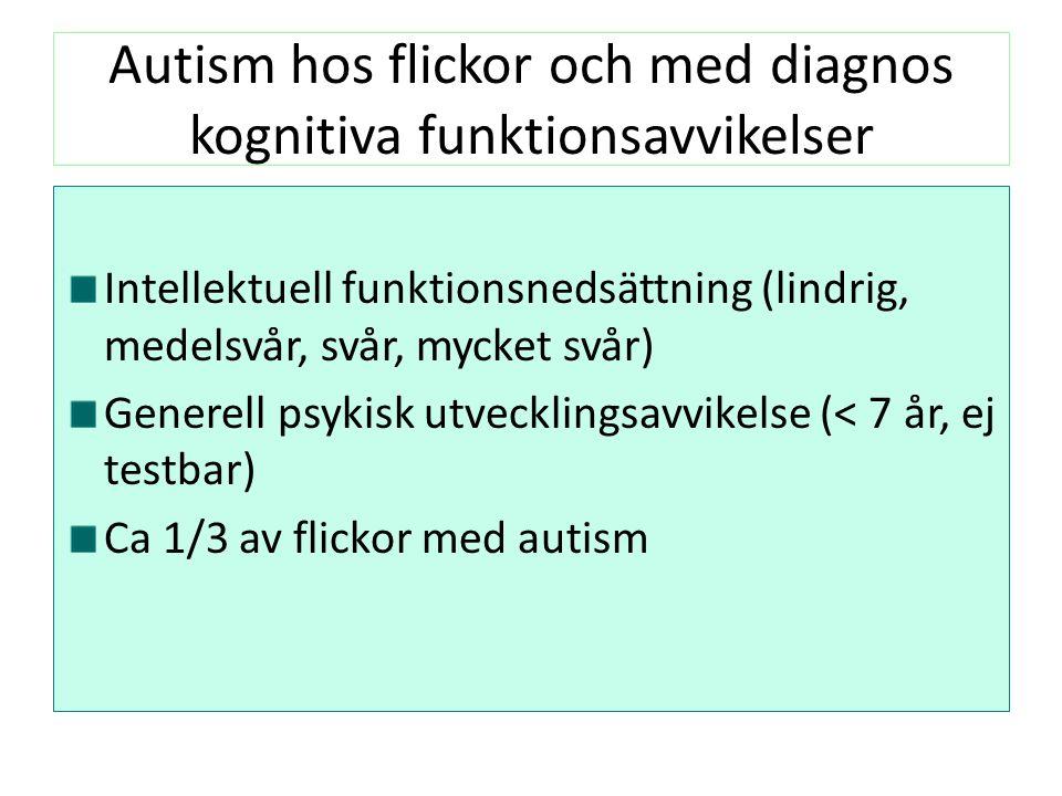 Autism hos flickor och med diagnos kognitiva funktionsavvikelser Intellektuell funktionsnedsättning (lindrig, medelsvår, svår, mycket svår) Generell psykisk utvecklingsavvikelse (< 7 år, ej testbar) Ca 1/3 av flickor med autism