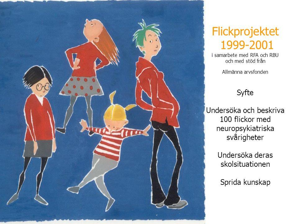 Flickprojektet 1999-2001 i samarbete med RFA och RBU och med stöd från Allmänna arvsfonden Syfte Undersöka och beskriva 100 flickor med neuropsykiatriska svårigheter Undersöka deras skolsituationen Sprida kunskap