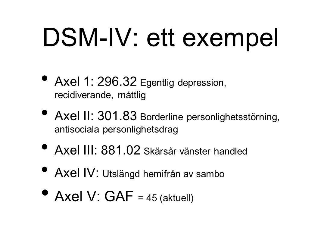 DSM-IV: ett exempel Axel 1: 296.32 Egentlig depression, recidiverande, måttlig Axel II: 301.83 Borderline personlighetsstörning, antisociala personlighetsdrag Axel III: 881.02 Skärsår vänster handled Axel IV: Utslängd hemifrån av sambo Axel V: GAF = 45 (aktuell)