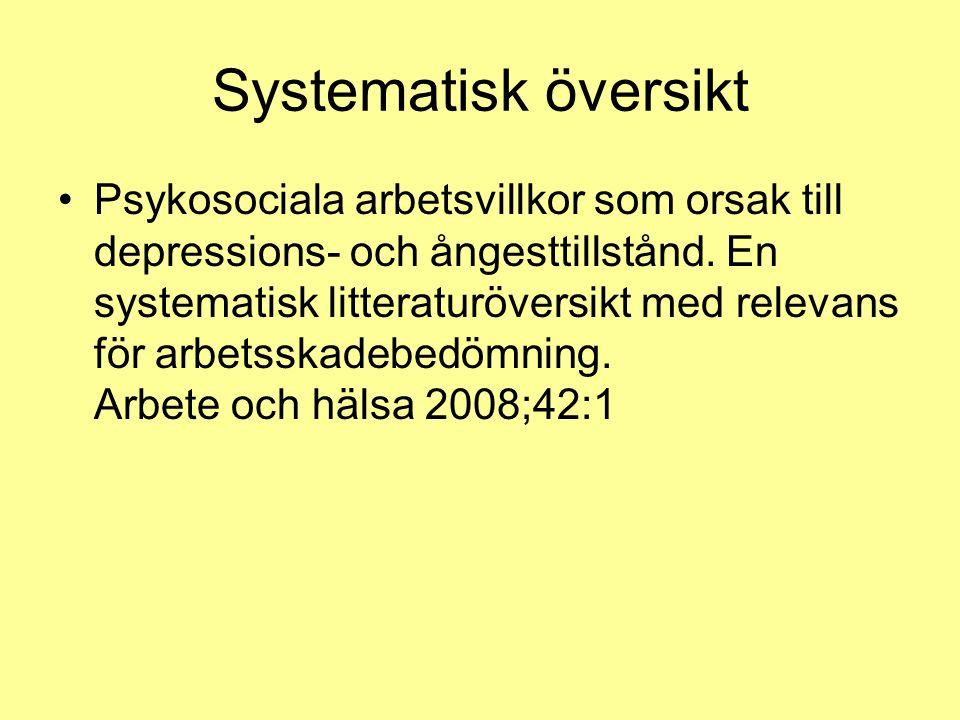 Systematisk översikt Psykosociala arbetsvillkor som orsak till depressions- och ångesttillstånd. En systematisk litteraturöversikt med relevans för ar