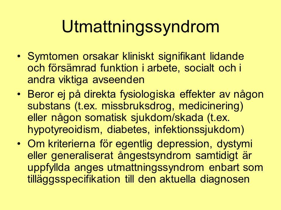 Utmattningssyndrom Symtomen orsakar kliniskt signifikant lidande och försämrad funktion i arbete, socialt och i andra viktiga avseenden Beror ej på direkta fysiologiska effekter av någon substans (t.ex.