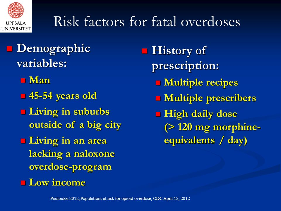 Risk factors for fatal overdoses Demographic variables: Demographic variables: Man Man 45-54 years old 45-54 years old Living in suburbs outside of a big city Living in suburbs outside of a big city Living in an area lacking a naloxone overdose-program Living in an area lacking a naloxone overdose-program Low income Low income History of prescription: History of prescription: Multiple recipes Multiple recipes Multiple prescribers Multiple prescribers High daily dose (> 120 mg morphine- equivalents / day) High daily dose (> 120 mg morphine- equivalents / day) Paulouzzi 2012, Populations at risk for opioid overdose, CDC April 12, 2012