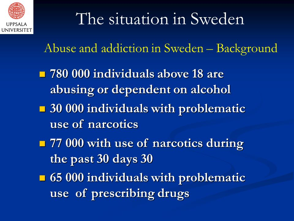Abuse and addiction in Sweden – Background 780 000 individuals above 18 are abusing or dependent on alcohol 780 000 individuals above 18 are abusing or dependent on alcohol 30 000 individuals with problematic use of narcotics 30 000 individuals with problematic use of narcotics 77 000 with use of narcotics during the past 30 days 30 77 000 with use of narcotics during the past 30 days 30 65 000 individuals with problematic use of prescribing drugs 65 000 individuals with problematic use of prescribing drugs The situation in Sweden