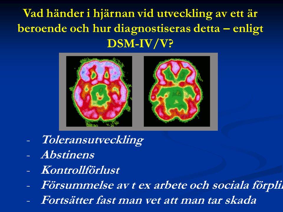 Vad händer i hjärnan vid utveckling av ett är beroende och hur diagnostiseras detta – enligt DSM-IV/V.