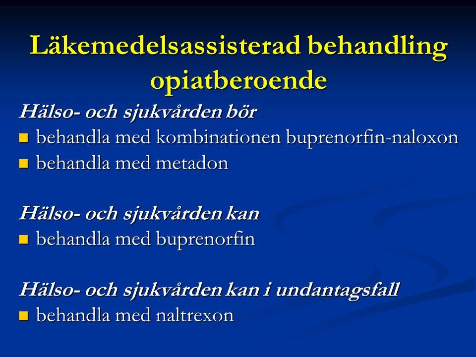 Punktlista nivå 1: Century Gothic, normal 19pt Nivå 2: Century Gothic normal 19pt Rubrik: Century Gothic, bold 33pt Läkemedelsassisterad behandling opiatberoende Hälso- och sjukvården bör behandla med kombinationen buprenorfin-naloxon behandla med kombinationen buprenorfin-naloxon behandla med metadon behandla med metadon Hälso- och sjukvården kan behandla med buprenorfin behandla med buprenorfin Hälso- och sjukvården kan i undantagsfall behandla med naltrexon behandla med naltrexon