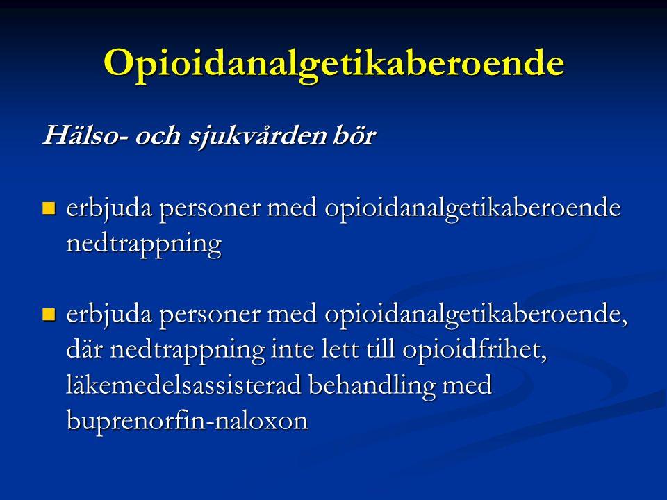 Punktlista nivå 1: Century Gothic, normal 19pt Nivå 2: Century Gothic normal 19pt Rubrik: Century Gothic, bold 33pt Opioidanalgetikaberoende Hälso- och sjukvården bör erbjuda personer med opioidanalgetikaberoende nedtrappning erbjuda personer med opioidanalgetikaberoende nedtrappning erbjuda personer med opioidanalgetikaberoende, där nedtrappning inte lett till opioidfrihet, läkemedelsassisterad behandling med buprenorfin-naloxon erbjuda personer med opioidanalgetikaberoende, där nedtrappning inte lett till opioidfrihet, läkemedelsassisterad behandling med buprenorfin-naloxon