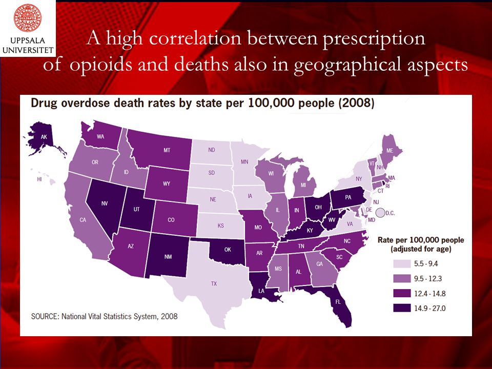 A high correlation between prescription of opioids and deaths also in geographical aspects