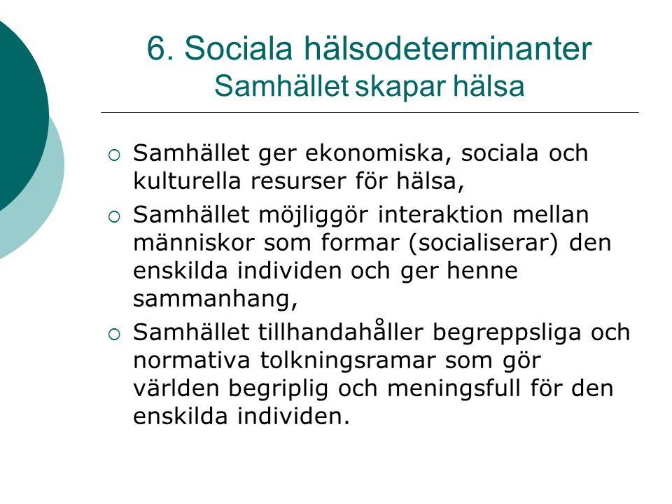 6. Sociala hälsodeterminanter Samhället skapar hälsa  Samhället ger ekonomiska, sociala och kulturella resurser för hälsa,  Samhället möjliggör inte